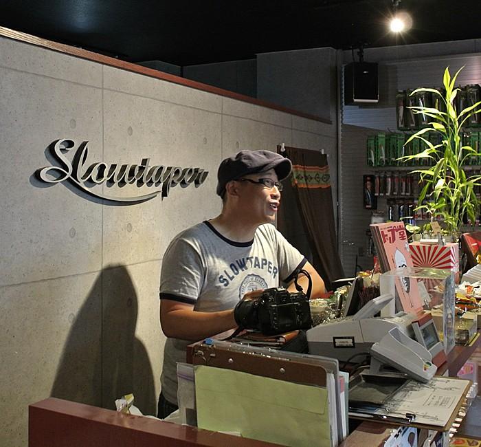 Hayashi-san at the Slowtaper Shop